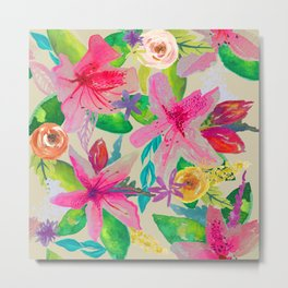Azalea Garden // Natural Metal Print