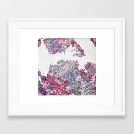 Auckland map watercolor Framed Art Print
