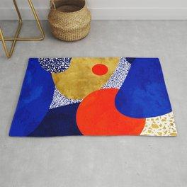 Terrazzo galaxy blue night yellow gold orange Rug