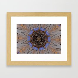Blue Brown Kaleidoscope Retro Groovy Image Framed Art Print