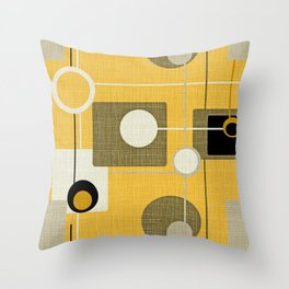 orbs and square gold yellow Throw Pillow