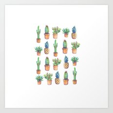 cactus and pineapples white! Art Print
