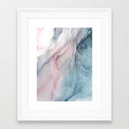 Calming Pastel Flow- Blush, grey and blue Framed Art Print