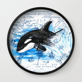 Breaching Baby Orca Watercolor Blue vintage Map Wall Clock