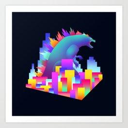Neon city Godzilla Art Print