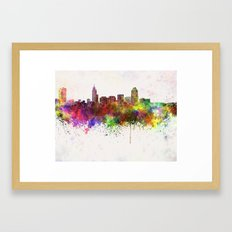 Raleigh skyline in watercolor background Framed Art Print