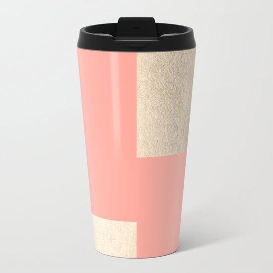 Simply Geometric White Gold Sands on Salmon Pink Metal Travel Mug