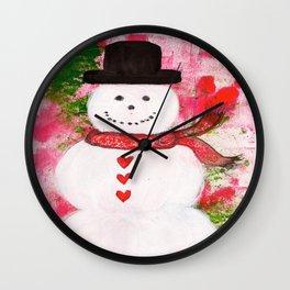 Heartfelt Snowman Wall Clock