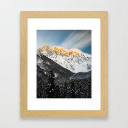 Last light of sunset on Slovenian Alps Framed Art Print