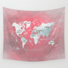world map 143 red white #worldmap #map Wall Tapestry