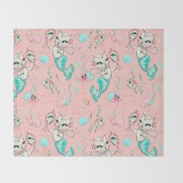 Merkittens with Pearls on blush Throw Blanket