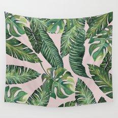 Jungle Leaves, Banana, Monstera Pink #society6 Wall Tapestry