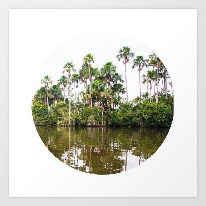 Rainforest Palms over Peruvian Amazon Circle Fine Art Print Art Print