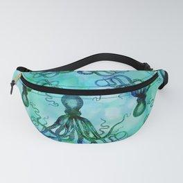 Octopus blue green mixed media underwater artwork Fanny Pack