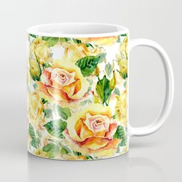 Hand painted yellow orange green watercolor roses floral Coffee Mug