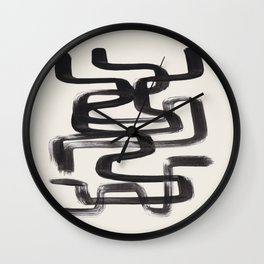 Mid Century Modern Minimalist Abstract Art Brush Strokes Black & White Ink Art Pipe Maze Wall Clock
