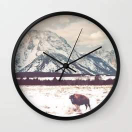 Bison & Tetons Wall Clock