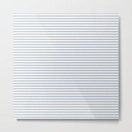 Pale Blue Grey and White Horizontal Stripes Metal Print