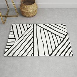 Black & White Line Pattern Rug