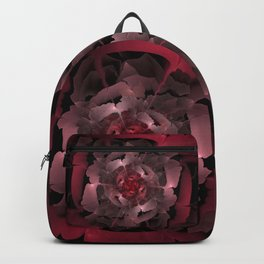 Abloom in Lusciously Crimson-Red Petals of a Rose Backpack