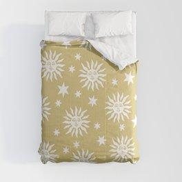 Mid Century Modern Sun and Star Pattern Gold Comforters