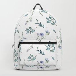 Spring Floral Bouquets Watercolor in Dusty Blue Backpack