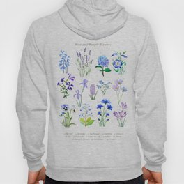 blue and purple flower collection watercolor Hoody