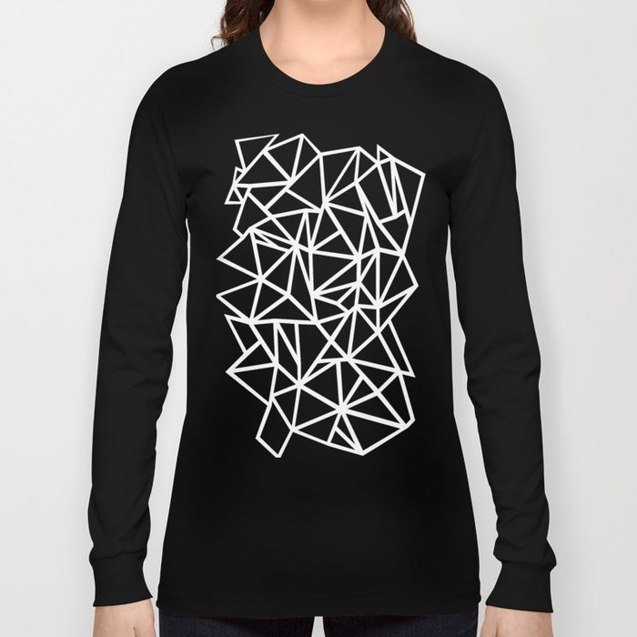 2d8fc4c18768 Abstract Outline Thick White on Black Long Sleeve T-shirt by ...