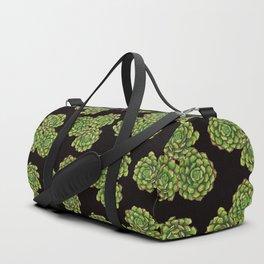 Green Succulents on Black Duffle Bag