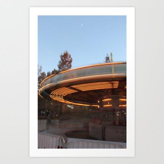 Carousel in motion Art Print