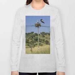A stork's nest on a telegraph pole Long Sleeve T-shirt