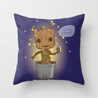 groot Throw Pillows featuring Groot by Lalu - Laura Vargas