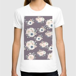 Dog Rose Pattern  Mauve T-shirt