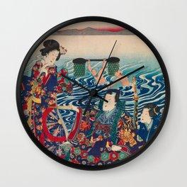 Utagawa Yoshitora - Genji Crossing the Oi River (1862) Wall Clock