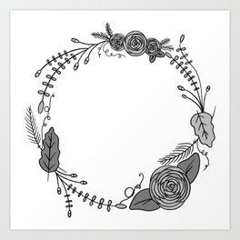 Floral Wreath Garland | Black and White Art Print