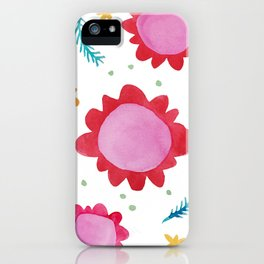 Painted Flowers red iPhone Case