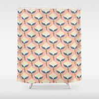 scandinavian Shower Curtains featuring Scandinavian Flower Pattern by Karin Bijlsma