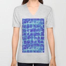 Tie Dye Shibori Water Cubes in Indigo Blue Unisex V-Neck