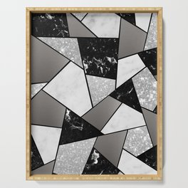 Black White Silver Geometric Glam #1 #geo #decor #art #society6 Serving Tray