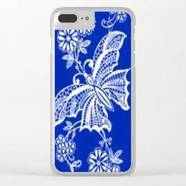 Sapphire Blue Lace Butterflies Clear iPhone Case