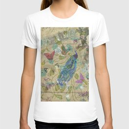 Vintage Ivory Green Blue Pink Peacock Collage T-shirt