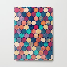 Textured Hexagon Pattern Metal Print