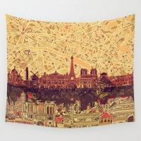 skyline Wall Tapestries featuring Paris skyline  by Bekim ART