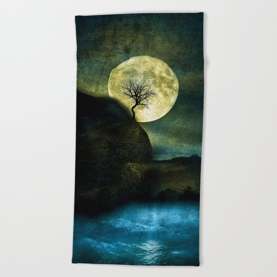 The Moon and the Tree. Beach Towel