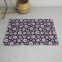 Retro lilac flowers and flower petals on dark blue - pattern Rug