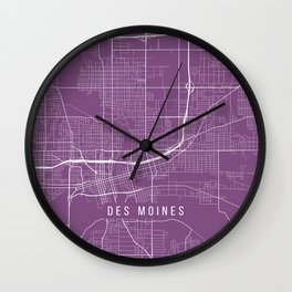 Des Moines Map, USA - Purple Wall Clock