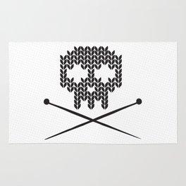 Knitted Skull (Black on White) Rug