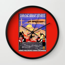 Vintage Simplon Orient Express London Constantinople Wall Clock