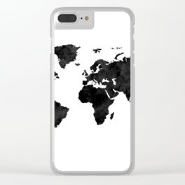 Watercolor world map Clear iPhone Case