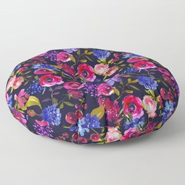 Scattered Bright Pink, Purple and Lavender Floral Arrangement with Feathers on Black Floor Pillow